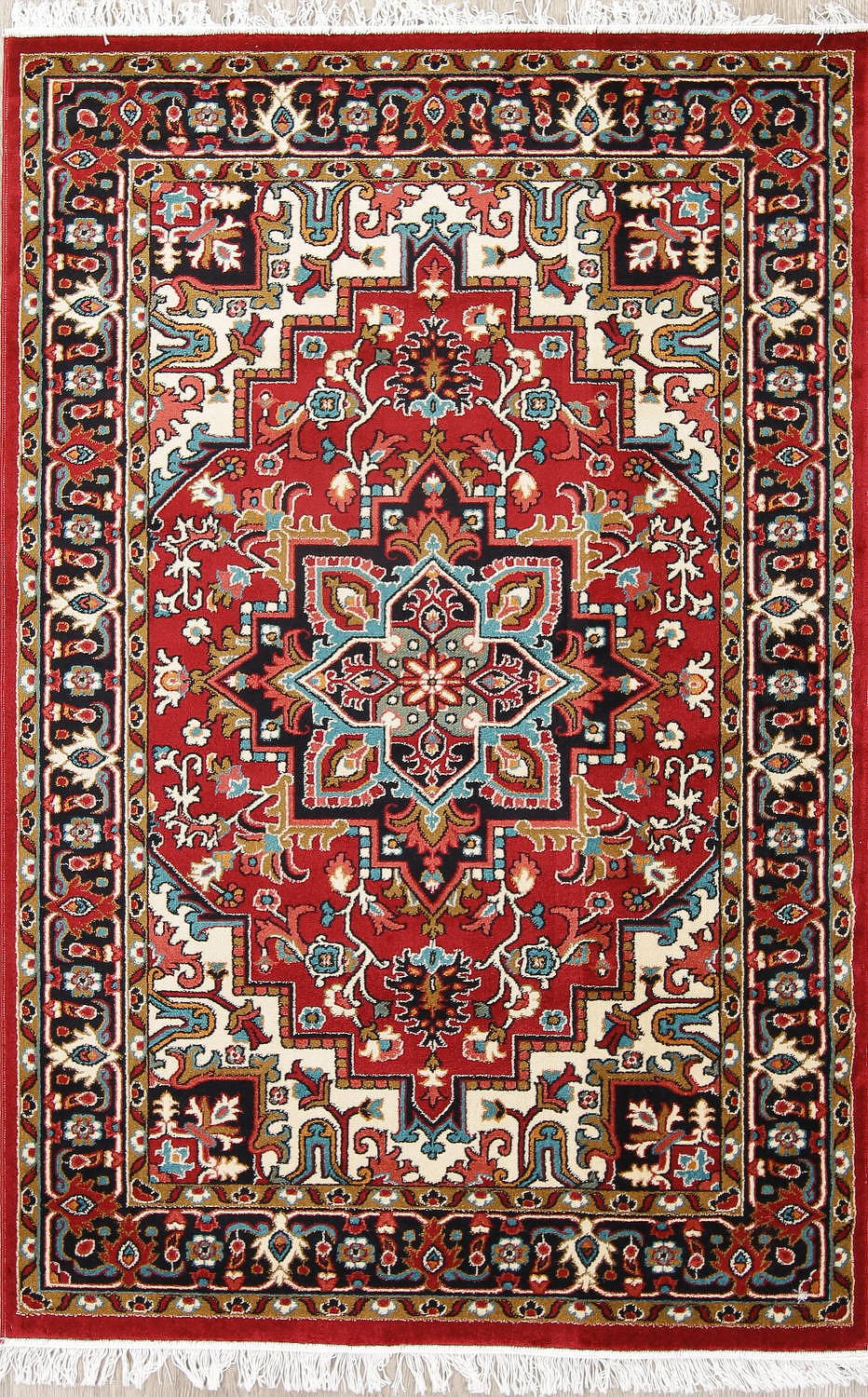 Geometric Red Heriz Turkish Oriental Rug
