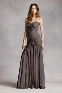 White by Vera Wang Charcoal Vw360154 Feminine Bridesmaid ...