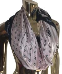 Chanel Light Pink and Navy Blue / Shawl Scarf/Wrap