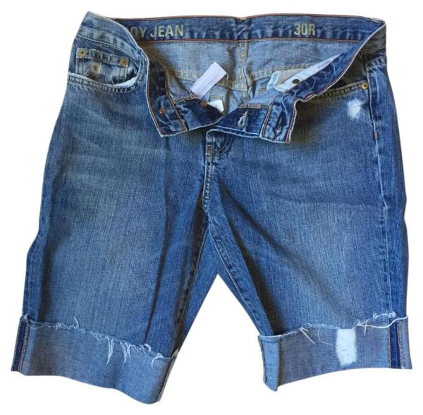 Crew Blue Distressed Boyfriend Bermuda Denim Shorts Size