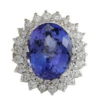 Blue 11.11 Carat Natural Tanzanite 14k White Gold Diamond ...