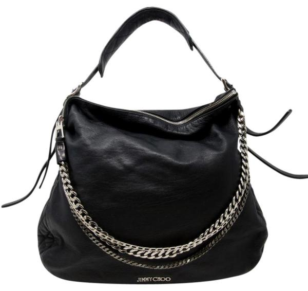 Jimmy Choo Biker Chain Blake Shoulder Black Leather Hobo