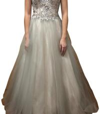 Camille la Vie Ivory/Silver Strapless Prom/Formal Long ...