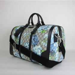 a1dba057a7a345 Gucci Bloom Flower Duffle 406380 8496 Beige/blue Gg Coated Canvas