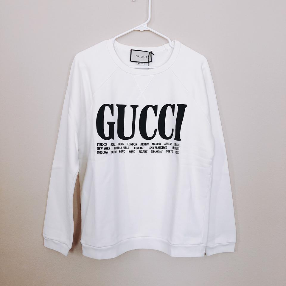 5e5f60467 Gucci Sweatshirt Hoodie | Gucci White Oversize Cities And Tiger ...