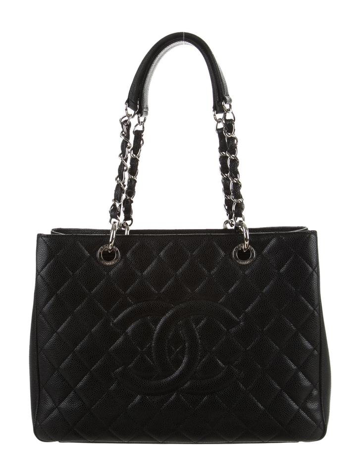 Chanel Grand Shopping Gst Quilted Flap Shw Classic Timeless Black Caviar Leather Tote - Tradesy