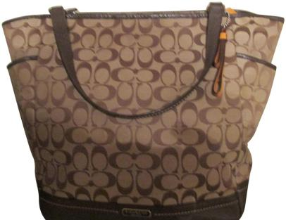 Coach New Cc and 6 Pockets Brown with Tradition Logo Diaper Bag ...