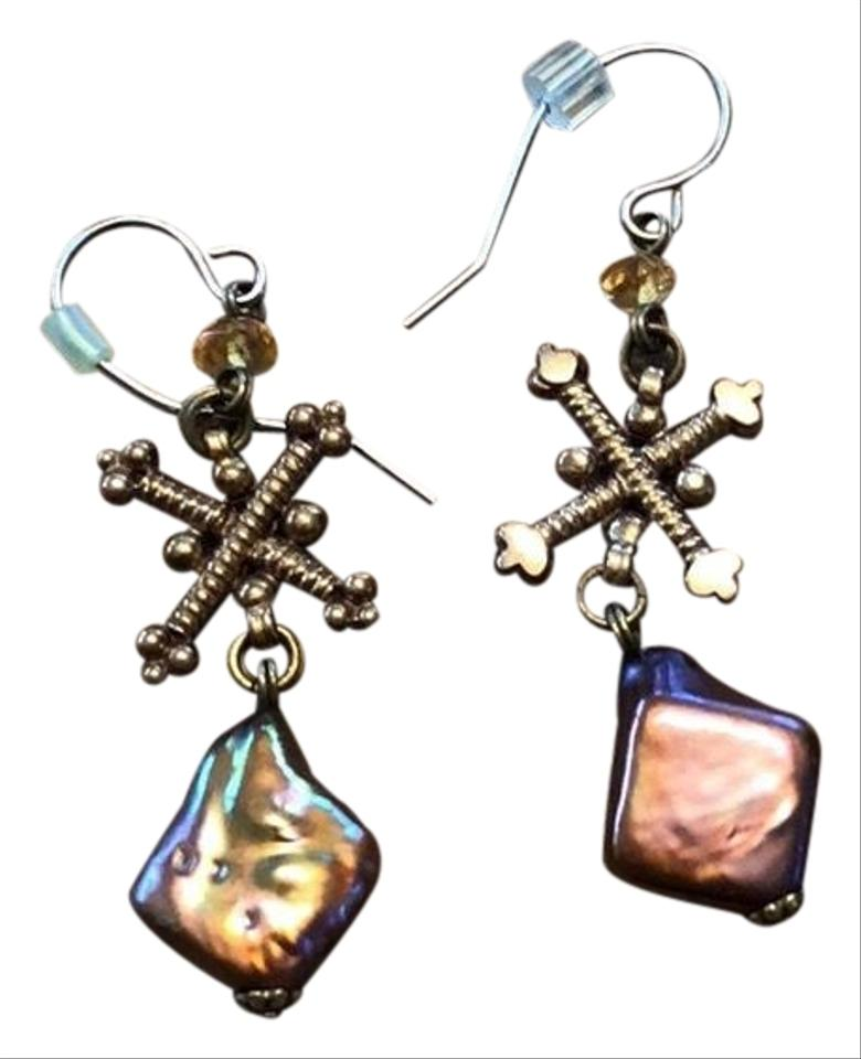 Stephen Dweck Pink Pearl and Gold Signature Drop Earrings