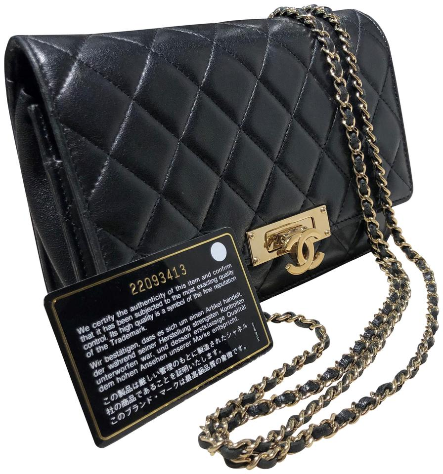 b72f135c1e0333 Chanel Classic Flap Wallet On Chain Quilted Lambskin Crossbody Gold  Hardware Golden Class Black Leather Shoulder Bag
