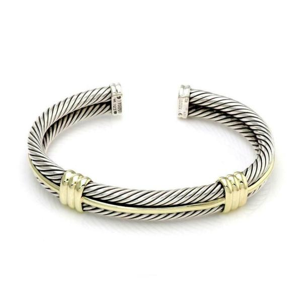 David Yurman #59751 Sterling Silver 14k Gold Double Cable Band Cuff Bracelet - Tradesy
