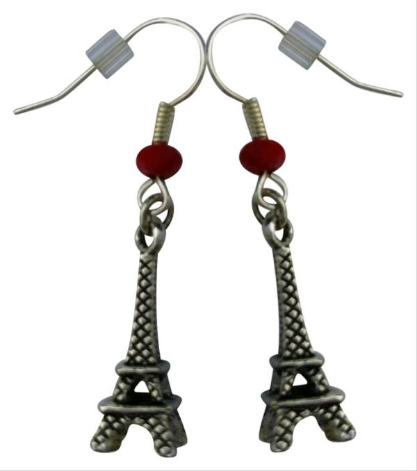Silver Red Eiffel Tower Paris Sterling Plated French Hooks