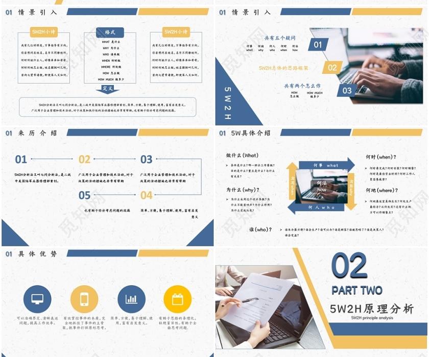 商務企業管理公司管理5wh2分析法培訓學習課件PPT模板下載 - 覓知網