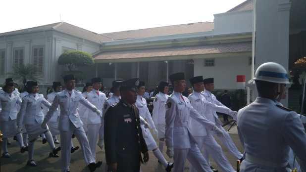 Paskibraka upacara HUT Ke-73 RI. (Foto: Fakhrizal Fakhri/Okezone)