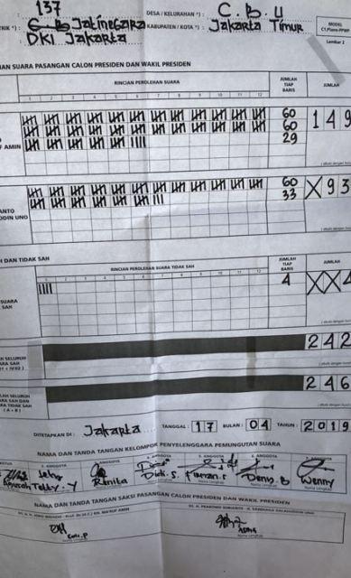 Form C1 Pemilu 2019 : pemilu, Bawaslu, Berikan, Salinan, Plano, Prabowo-Sandi, Okezone