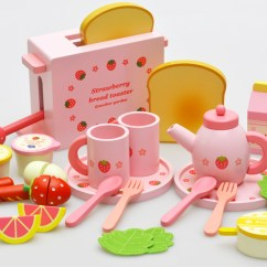 Wooden Toy Kitchens Drawers Or Cabinets In Kitchen Mother Garden木制草莓面包机婴幼儿童过家家木质厨房切切看玩具