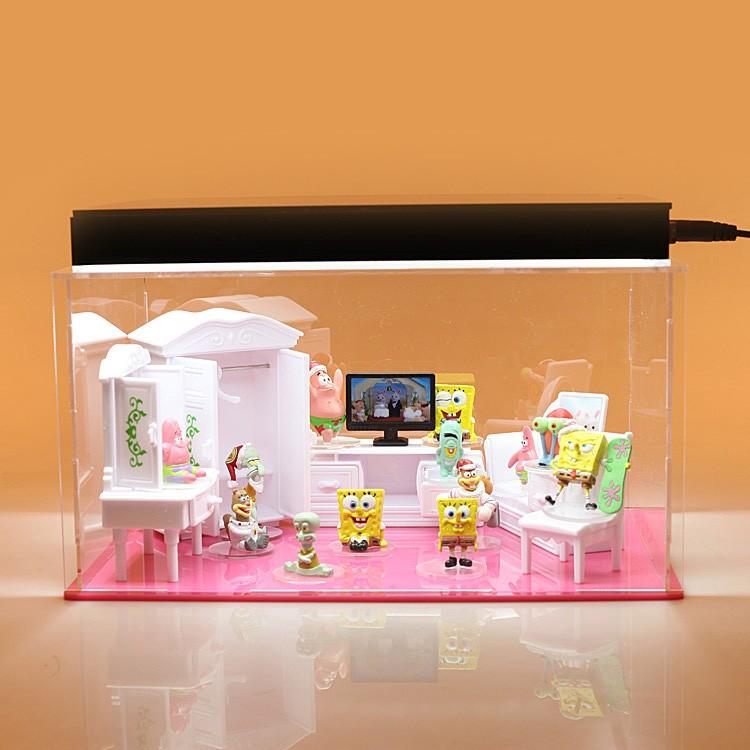 toy kitchen sets sliding shelves for cabinets 海绵宝宝公仔模型儿童过家家大别墅玩具家具卧室浴室客厅厨房场景