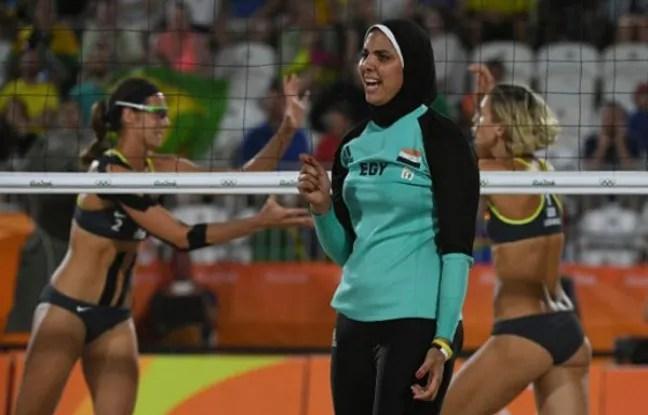 Doaa Elghobashy, membre de l'équipe de beach-volley égyptienne.