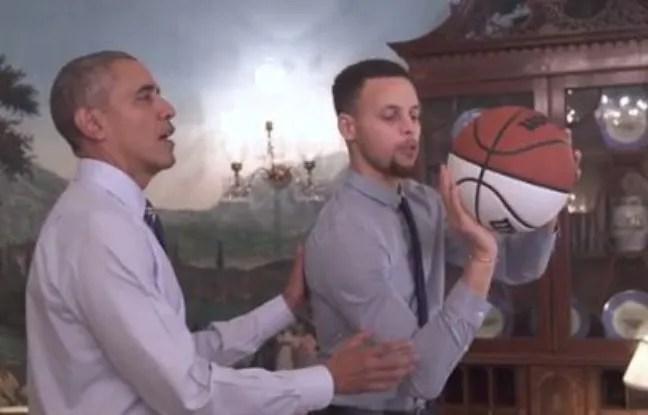 Barack Obama et Stephen Curry dans une vidéo pour promouvoir «My Brother's Keeper», qui vise à réduire l'illettrisme et l'échec scolaire.