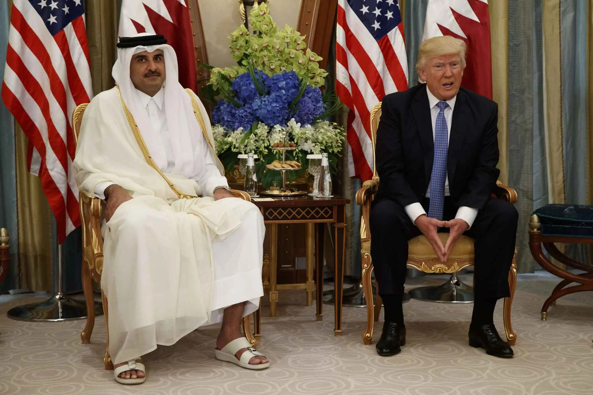 Donald Trump et l'émir du Qatar Tamim ben Hamad al-Thani à Ryad, le 21 mai 2017.
