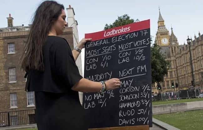 Une bookmaker lance les paris sur les élections législatives anticipées en Grande-Bretagne, près du Parlement à Londres, le 7 juin 2017.