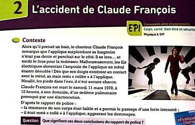 Le fameux exercice sur la mort accidentelle de Claude François.
