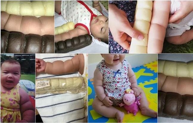 Capture d'écran Twitter. Au Japon, les parents comparent les bras de leur bébé à une baguette de pain.
