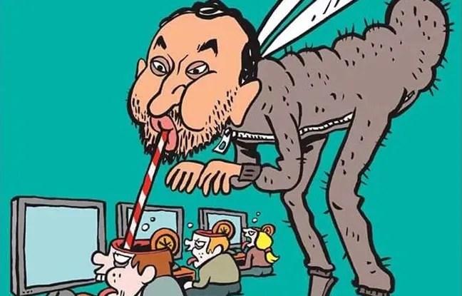 Cyril Hanouna caricaturé en Une de Charlie Hebdo