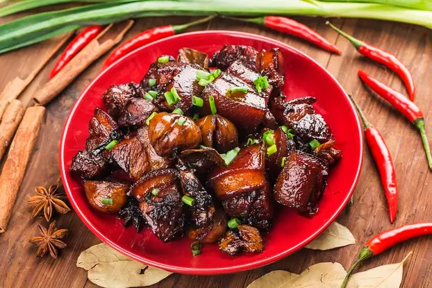 Braised Pork with Chestnuts,Chinese food