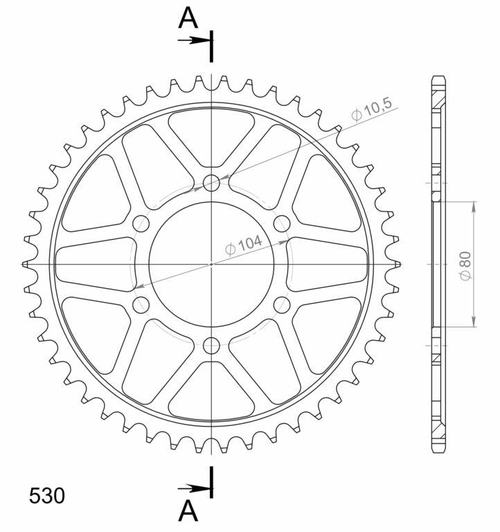 Řetězová rozeta SUPERSPROX černý 46 zubů, 530 KAWASAKI ZXR