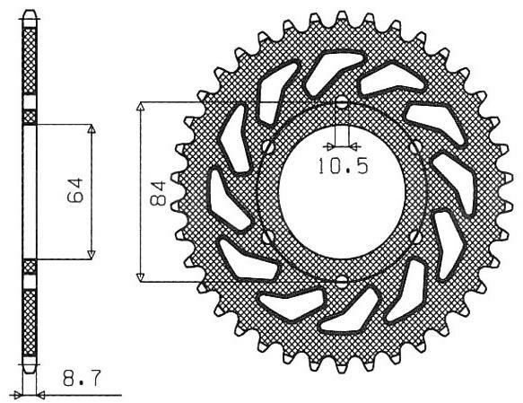ocelová rozeta pro sekundární řetězy typu 530, SUNSTAR (45