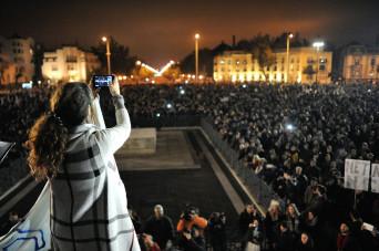 Tüntetés az internetadó ellen Budapesten