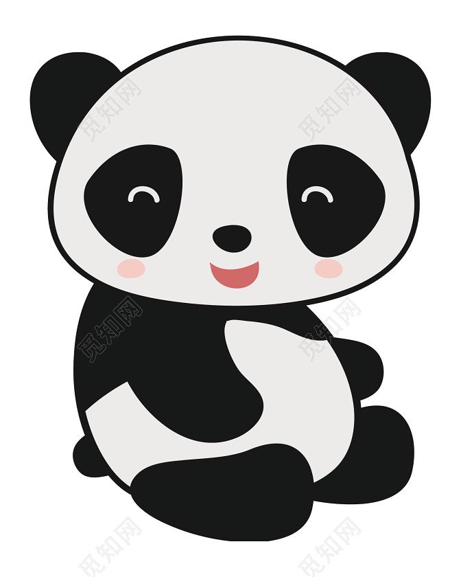 黑白卡通熊貓裝飾圖案圖片素材免費下載 - 覓知網