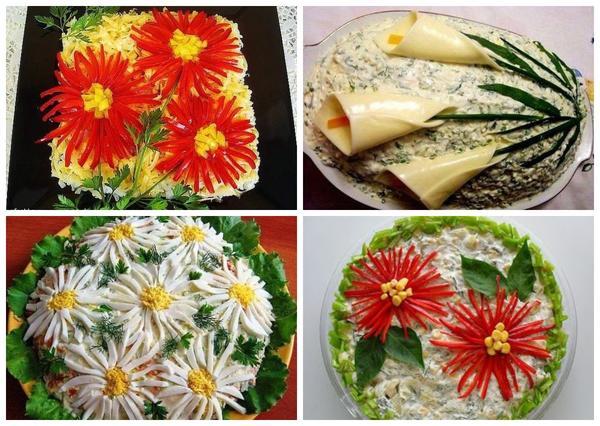 カルタと菊を描くのは難しくありません。試してみてください。そしてサラダで飾られた贅沢な見方!