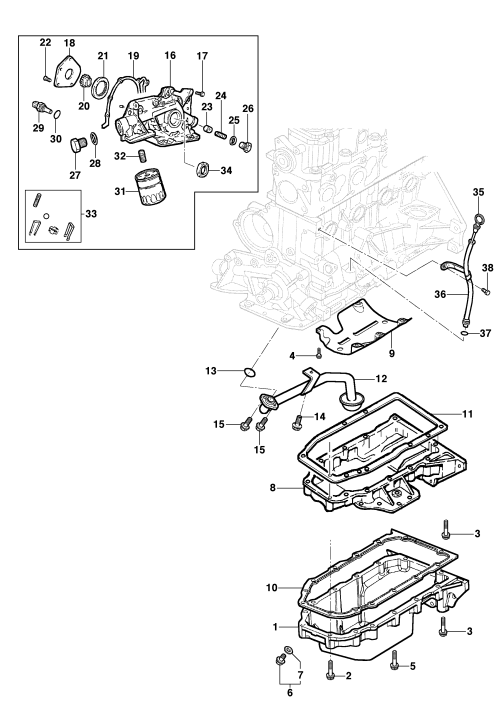 small resolution of oil pan and oil pump 8v engine