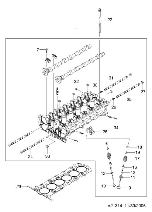 small resolution of cylinder head xk l6 1314
