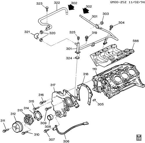 small resolution of 1995 1999 w engine asm 3 1l v6 part 3 front cover cooling