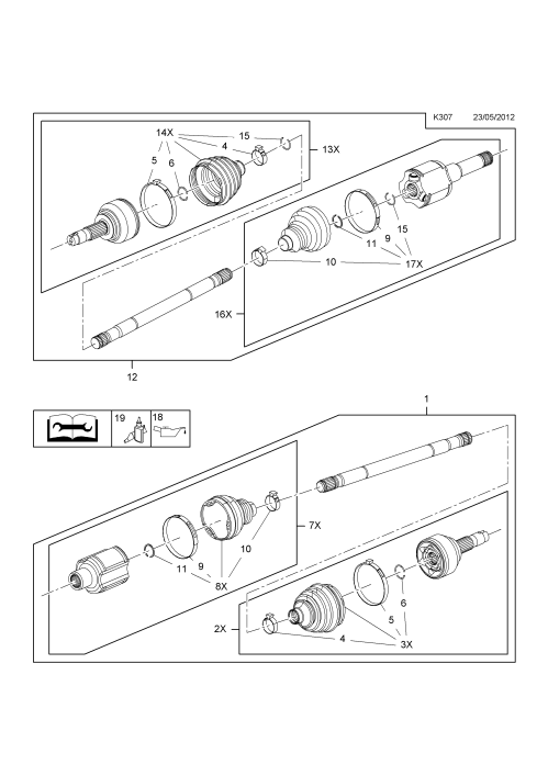 small resolution of front axle drive shaft a18xer 2h0 petrol engine used with 6t40 automatic transmission opel mokka