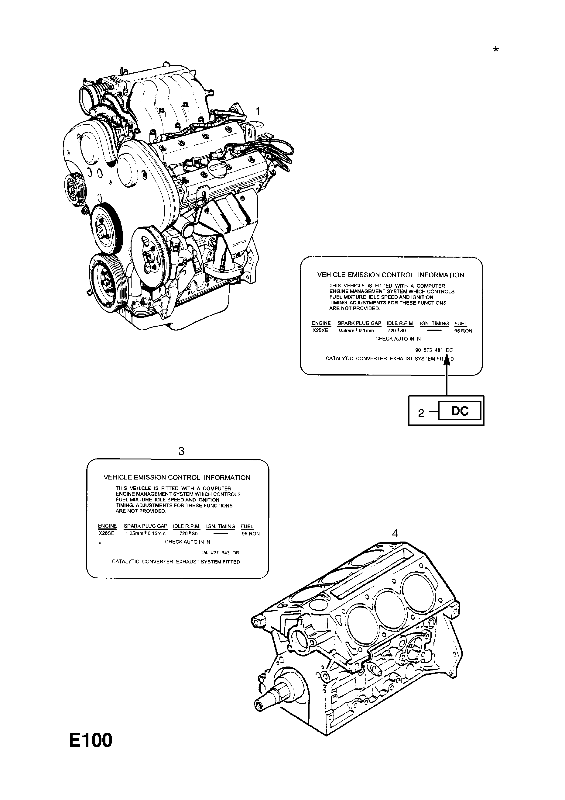 ENGINE ASSEMBLY [USED WITH MANUAL TRANSMISSION] OPEL VECTRA-B
