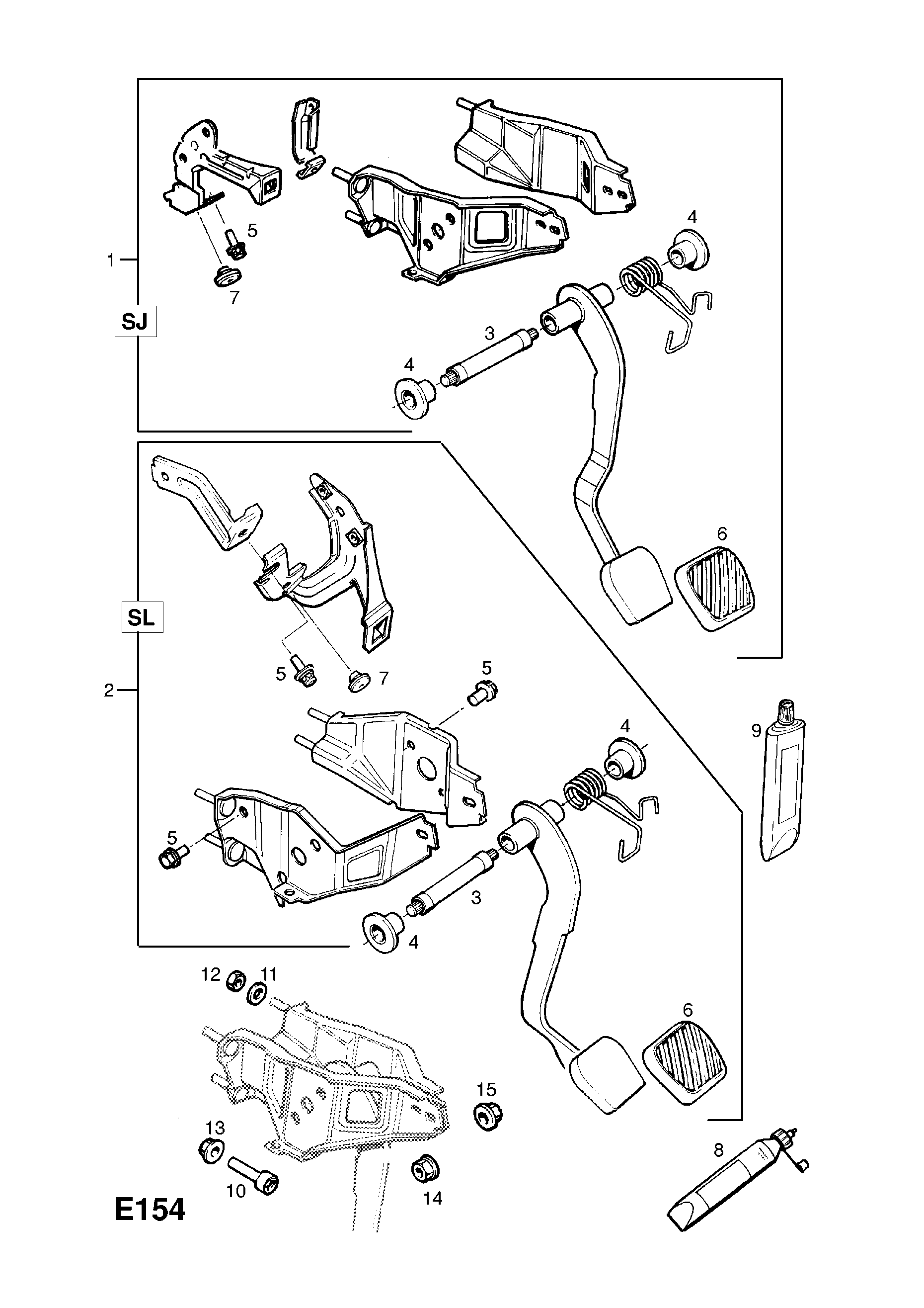 CLUTCH PEDAL AND FIXINGS [USED WITH MANUAL TRANSMISSION