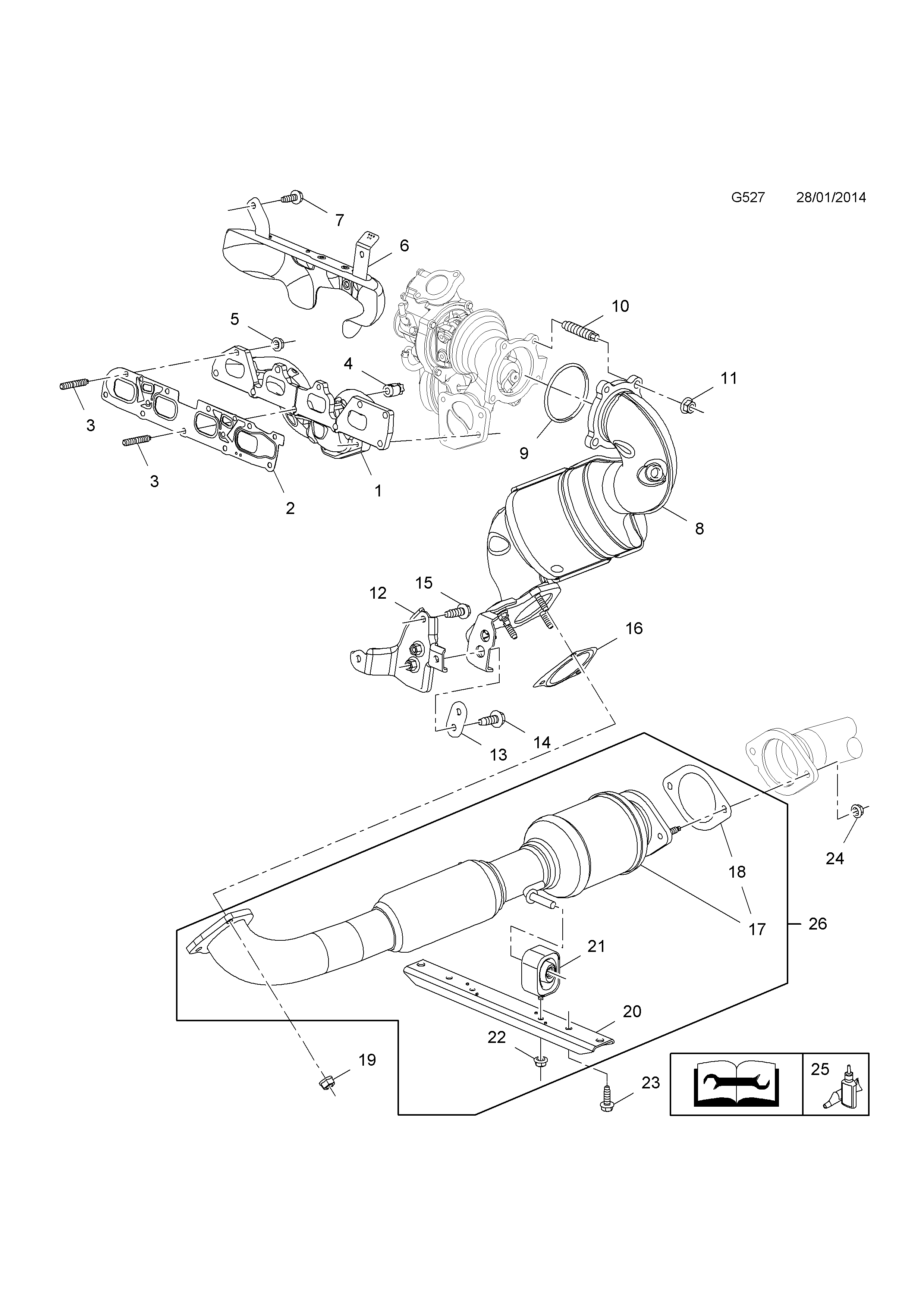 Exhaust Manifold Catalytic Converter And Front Pipe
