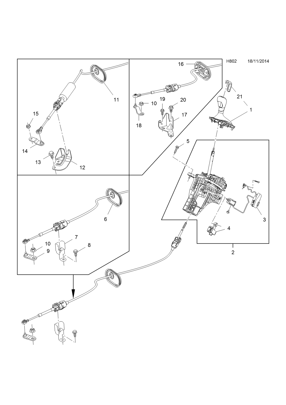 medium resolution of gear selector linkage used with 6t40 automatic transmission opel zafira c