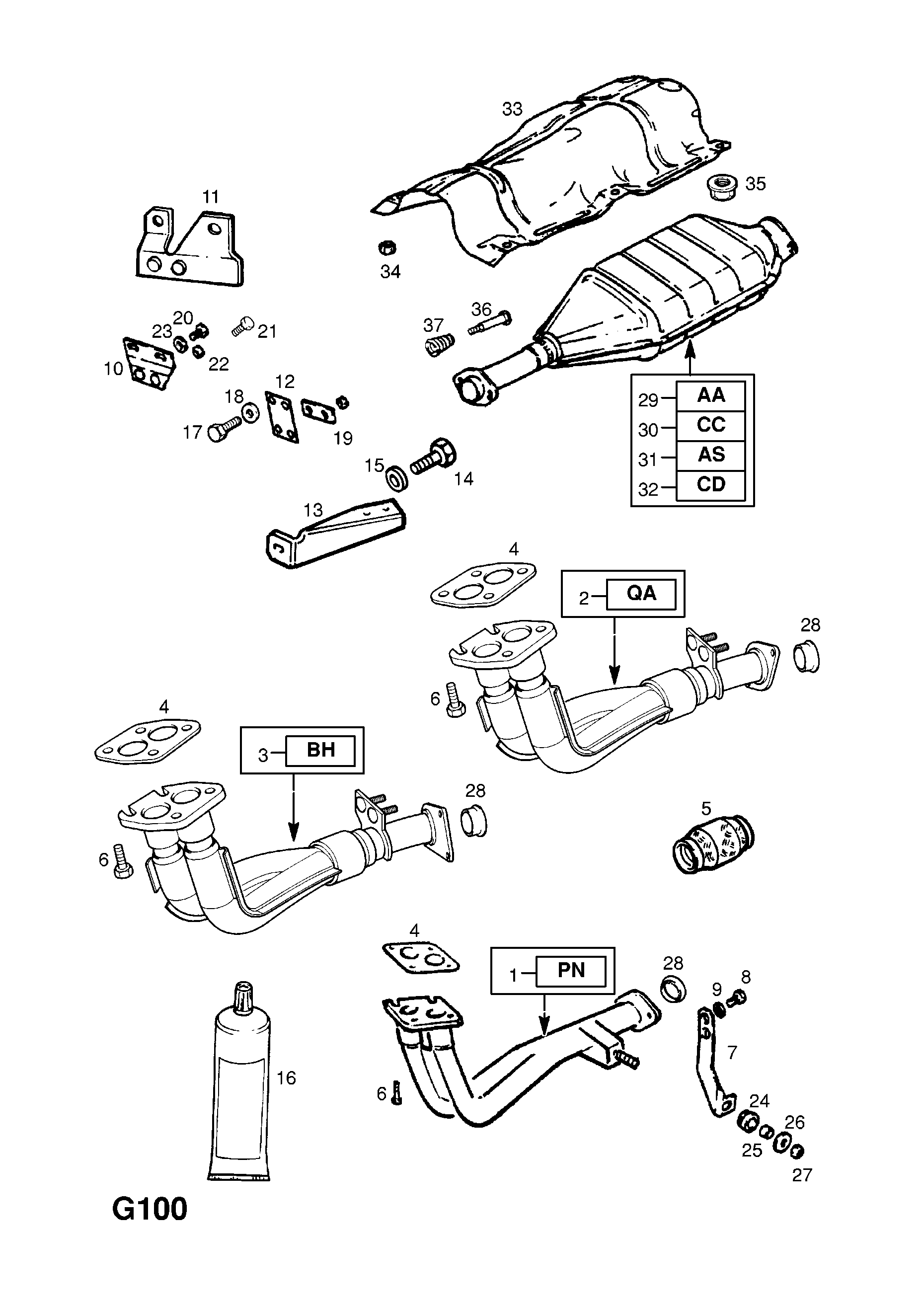 EXHAUST PIPE,SILENCER AND CATALYTIC CONVERTER (CONTD
