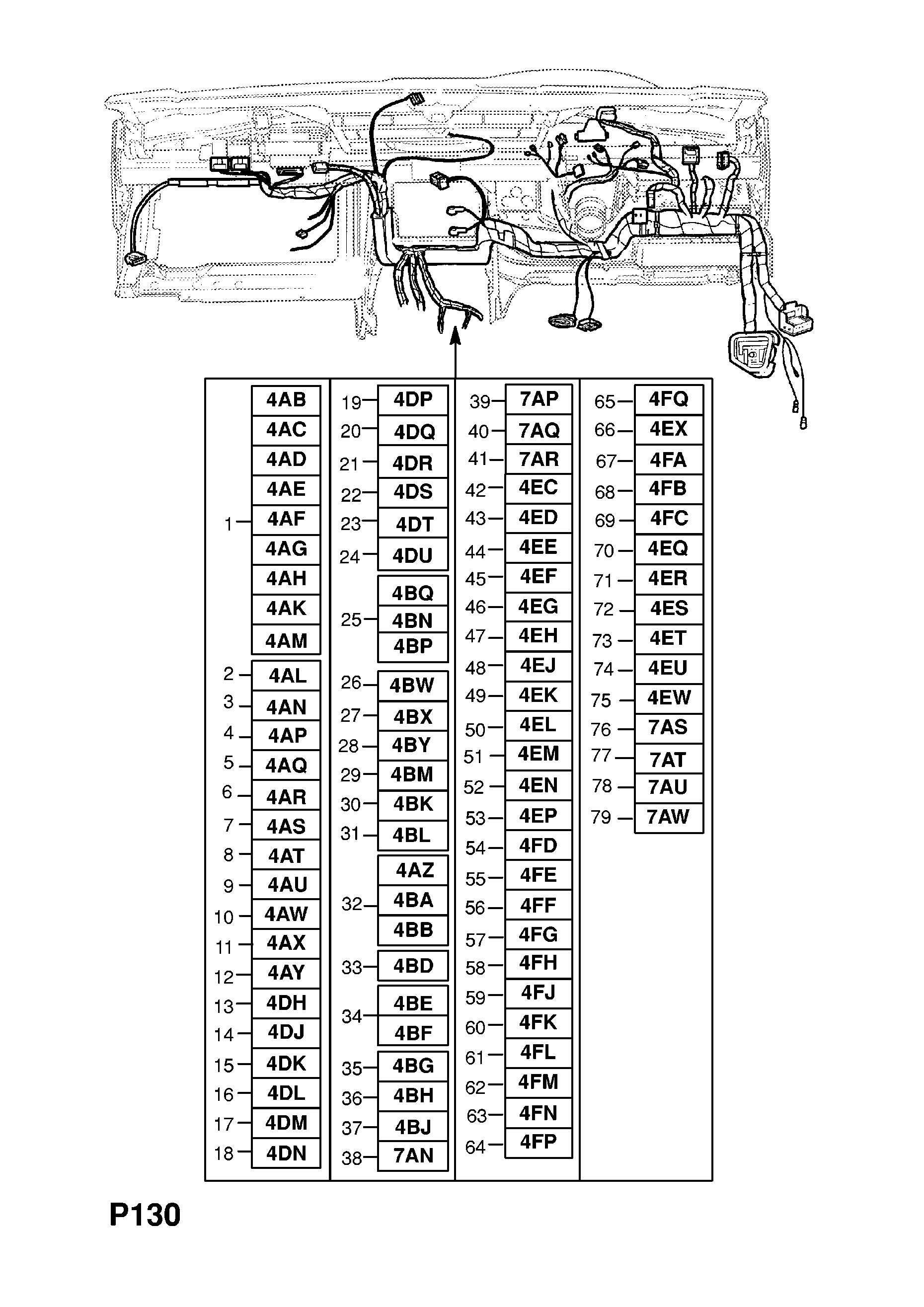 INSTRUMENT PANEL WIRING HARNESS (CONTD.) [HATCH,SALOON