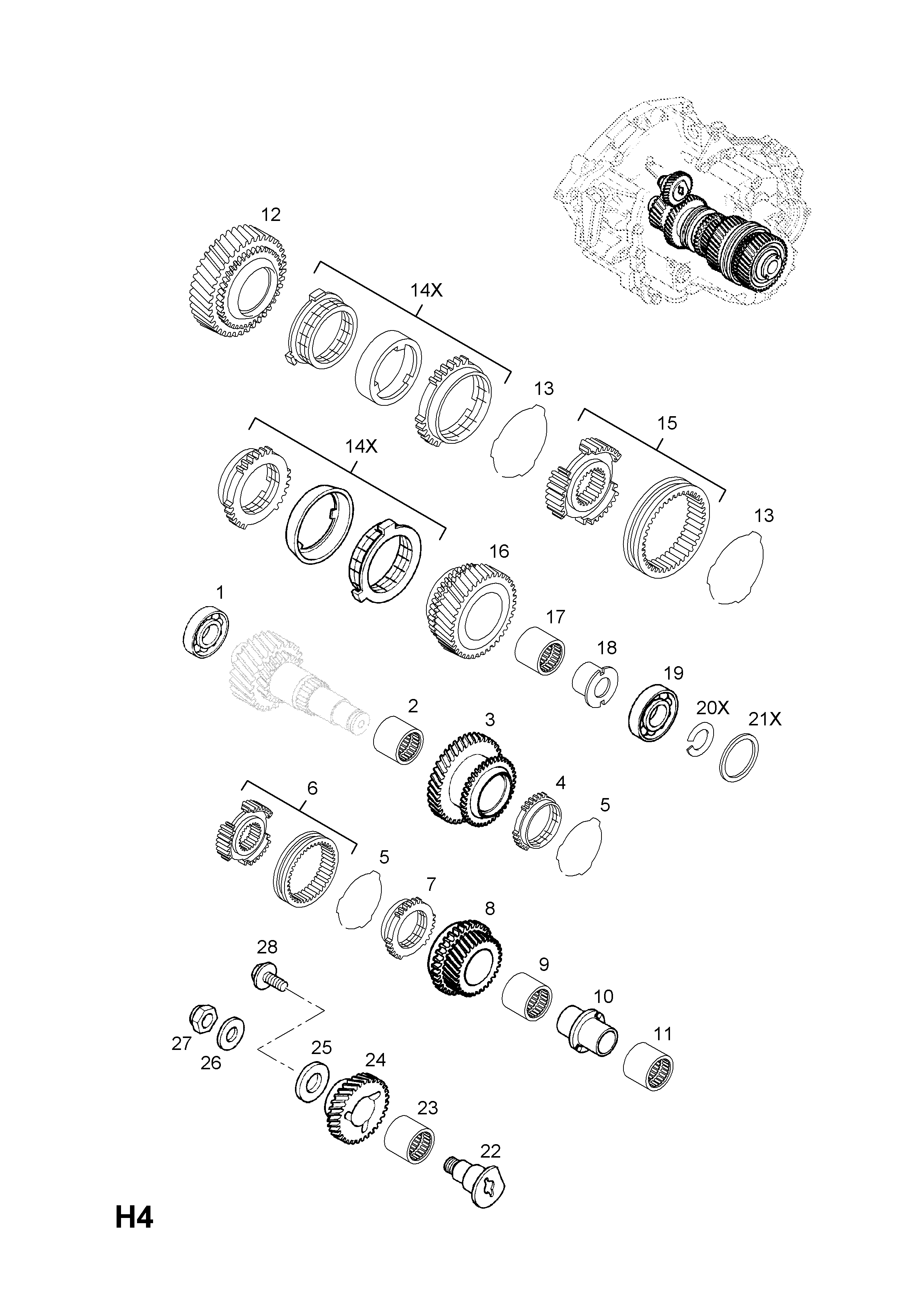 MAINSHAFT GEARS [FIRST,SECOND,FIFTH AND REVERSE GEARS