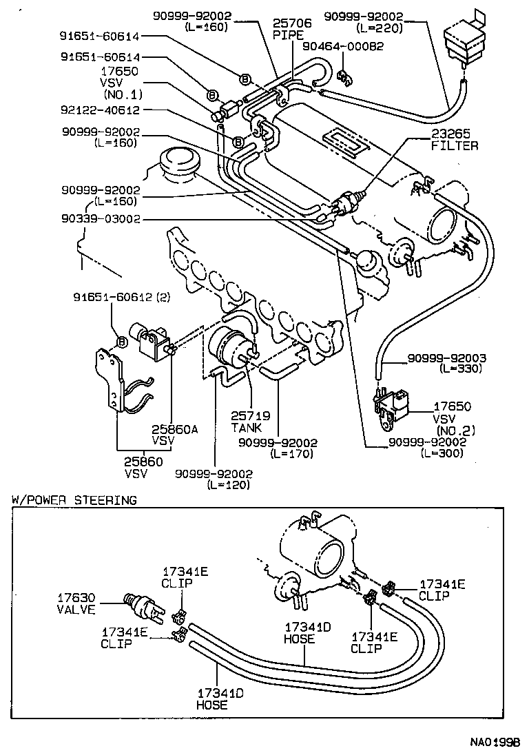 VACUUM PIPING[ (8705-8908)4AGE ] TOYOTA COROLLA [EE90,AE92