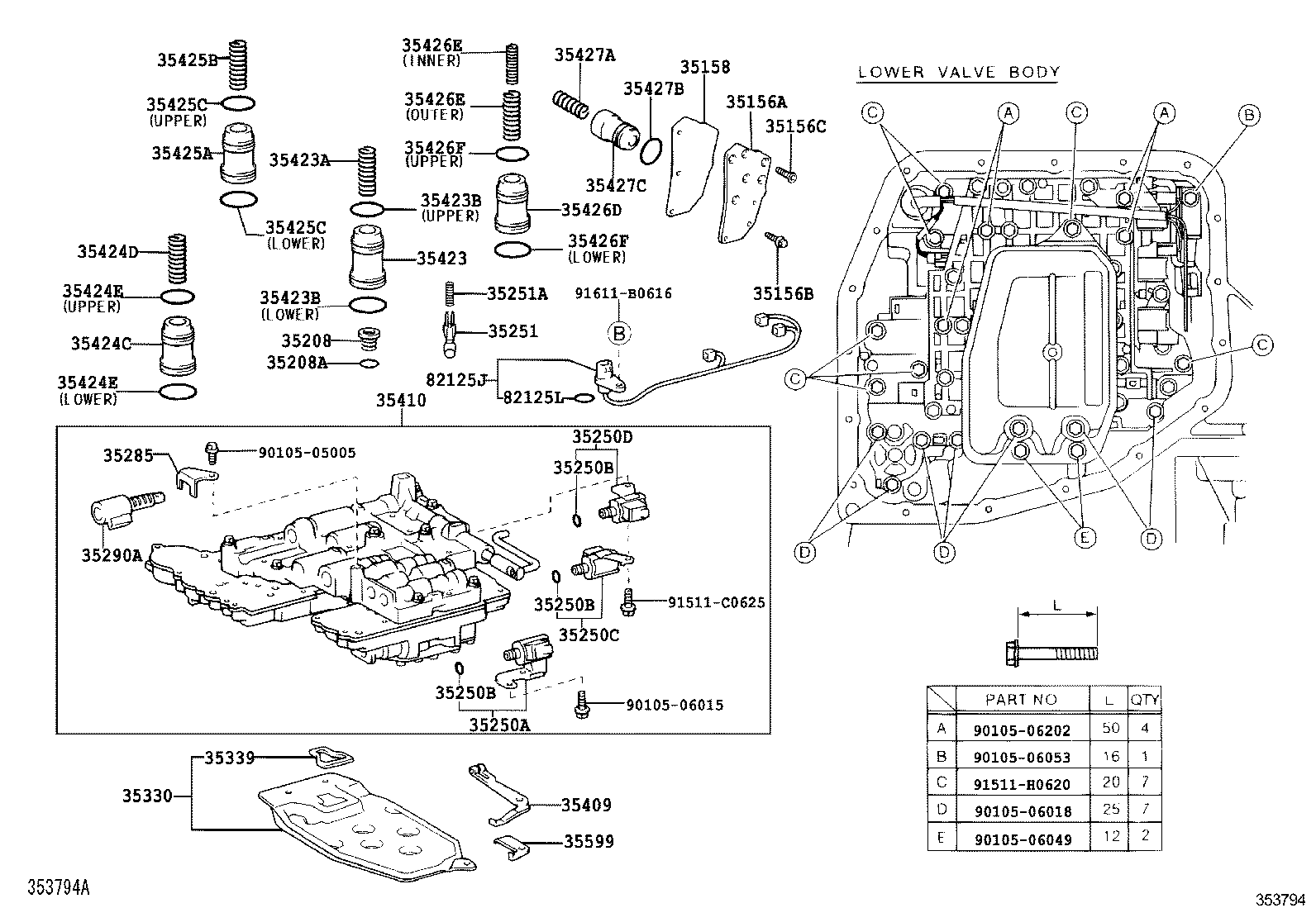 VALVE BODY & OIL STRAINER (ATM)[A245E,A246E ILLUST NO. 1