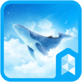 Simple Sky Blue Whale Illust Launcher theme 1.0