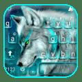 Cyan Neon Wolf Keyboard Theme 1.0