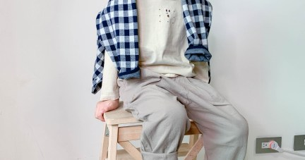 1909J117 織紋雙色格子外套