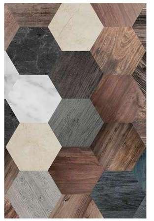 floorart tapis vinyle hexagone bois marbre 100x133 cm